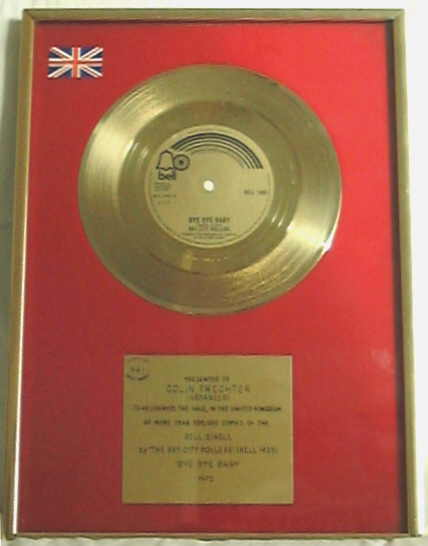 Colin Frechter S Gold Disc For The Bay City Rollers Single